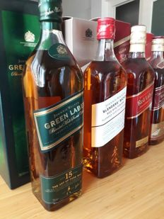 5 bottles -Johnnie Walker - Blender's Batch Red Rye Finish, Green Label 15 & 3x Red Label