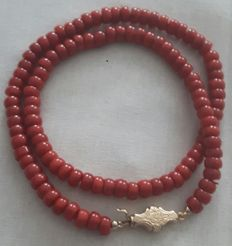 Red coral necklace with gold Biedermeier clasp.