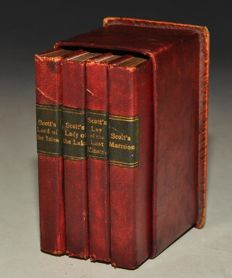 "Sir Walter Scott - ""The Thistle Library"" Four Miniatures Volumes in case - ca. 1890"