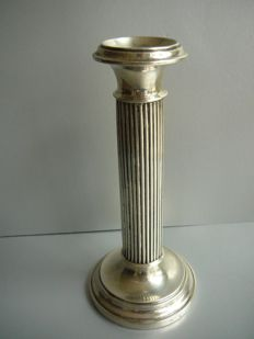 Silver column candle stand with banded stem, Netherlands, 1919
