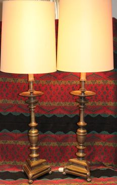 Pair of heavy bronzes lamps - 110 cm - 12 kg - ca.1905 - Spain
