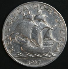 Portugal – 5 Escudos in SILVER – 1937 – Portuguese Republic – Lisbon – Rare and No Reserve Price