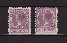 The Netherlands 1928 - Four-sided, deviating syncopated perforation - NVPH R53a + R53b