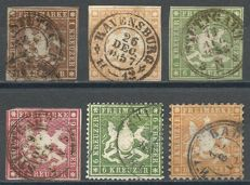 Württemberg 1857/1864 – Michel 6a, 7a, 8a, 9a, 18xa and 29 inspected