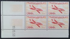 France 1954 – Air post, Prototype Series, Block of 4 dated corner, Roumet certificate – Yvert no. 32