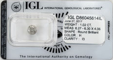 1.02 ct brilliant cut diamond  H  I3