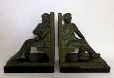 John Dommisse (1878-1955) - set book ends in terracotta