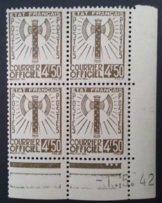France 1943 – Service, block of 4 dated corners, Signed Calves with digital certificate – Yvert no. 11