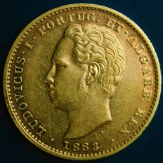 Portugal – 5.000 Reis in Gold – 1883 – D. Luís I – Lisbon – New