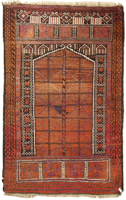 Hand made antique Afghan Baluch rug 3.5' x 5.5' ( 107cm x 170cm ) 1900s
