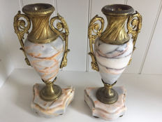a pair of marble vases with brass mounts, in Louis XVI style, early 20th century