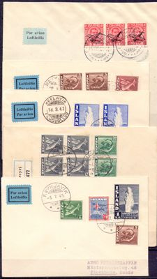 Iceland 1925/1947 - Five airmail letters