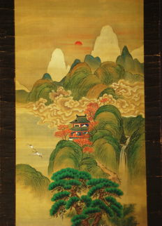 "Antique hanging scroll - ""Horaisan or Paradise Island"" by Kakuzan - Japan - ca. 1840 (Edo Period)"