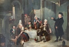 Unknown. (19th century) - A priest attempting to preach to revellers in a tavern.