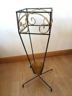 Unknown designer – vintage umbrella stand with umbrellas and vintage walking stick