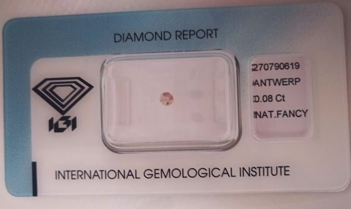 Natural Fancy Pink Diamond 0.08 ct  with IGI cert