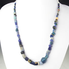 Necklace with Roman blue glass and stone beads - 52 cm