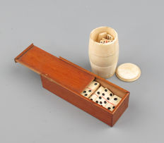 Two antique bone miniature domino sets -France - late19th century.