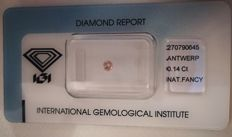 Natural Fancy Pink Diamond 0.14ct  with IGI cert *** no minimum price***