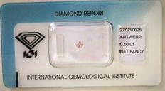 Natural Fancy Pink Diamond 0.10ct  with IGI cert