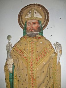 Figure of a bishop in a gold and silk fabric with metallic decorations - Italian - 19th century
