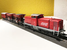Märklin H0 - 34737 - Diesel locomotive No.  61 of the AVG, with 3 freight carriages