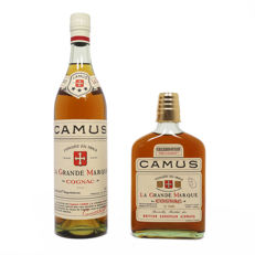"Pair of Camus Cognac: Celebration flask & *** Three Star ""La Grande Marque"""