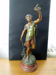 Théodore Doriot - statue made of polychrome regule depicting Zephyr - France - end of 19th century