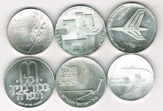 Israel - 6 Various Silver Coins 1961-1972