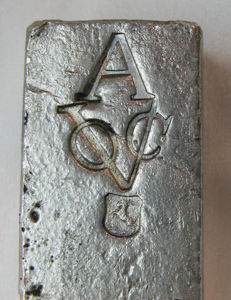"Silver bar VOC 1739 from ship ""De Rooswijk"""