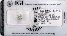 1.39 ct brilliant cut diamond  H  I3