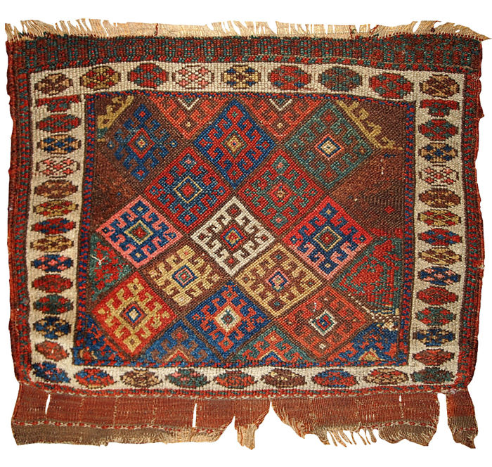 Hand made antique collectible Persian Kurdish bag face 1.10' x 2.3' ( 58cm x 70cm ) 1880s