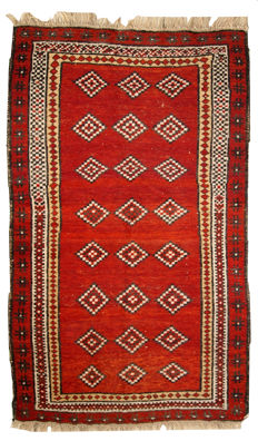 Hand made antique Uzbek Gulyam rug 3.4' x 5.5' ( 104cm x 170cm ) 1920s