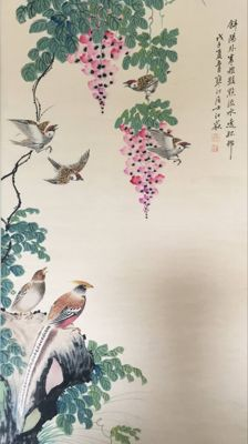 A hand painted large scroll painting  - China - late 20th century