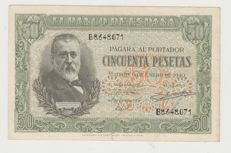 Spain - 50 pesetas from 1940, series B, XF, T071, rare and scarce