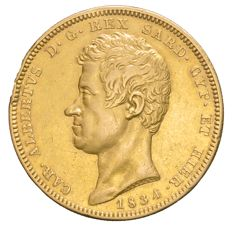 Kingdom of Sardinia – 100 Lire coin, 1834, Turin – Carlo Alberto – Gold.