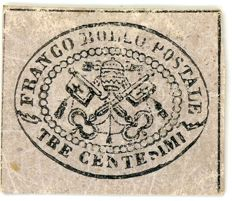 Papal States, 3 cents. Sassone #14.