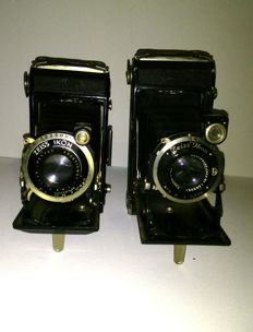 Two stunning folding camera's *Zeiss Ikon compur with nettar-anastigmat lens* *Zeiss Ikon Ikonta*