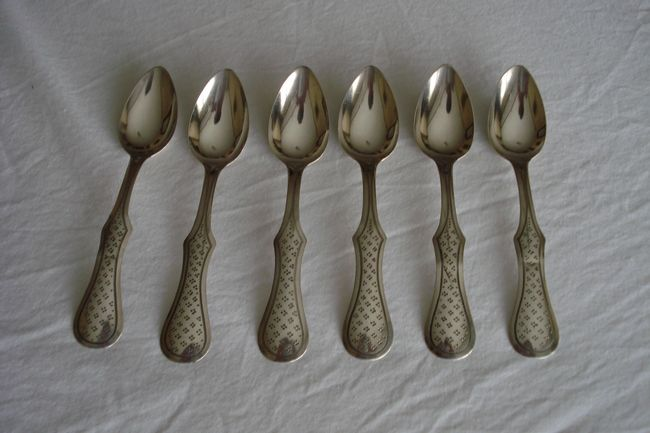 6 silver engraved teaspoons - Holland - 1869