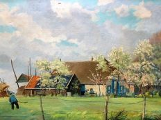 J.H. van de Sijde ( 20th century ) - Hollands landschap