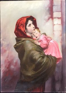 Robert Ferruzzi. (1927-)  - A mother and young daughter.