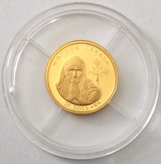 Liberia – 25 Dollars 2003 'Mother Teresa' – 0.74 g Gold