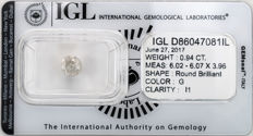 0.94 ct brilliant cut diamond  G  I1
