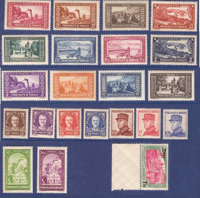 Monaco 1933/1939 – Selection of series including Yvert no. 119/134 and PA no. 1