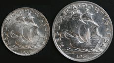 Portugal – 2 Coins in SILVER – 2.5 Escudos and 5 Escudos from 1951 – Last Date Issued – Portuguese Republic – Lisbon –  FDC