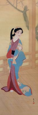 'Bijin on bridge' (美人) - Large detailed scroll painting on cloth, signed and stamped - Japan - ca. 1920