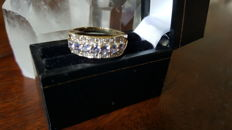 Gold Eternity Ring set with Natural Tanzanites & Diamonds. Low Reserve Price !!