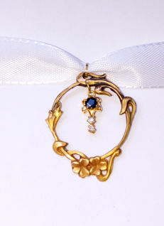 18 kt gold pendant with sapphire and antique cut diamonds * No reserve price*