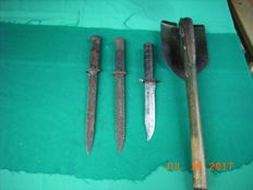 Collection of Bayonets DR, US and US folding spade