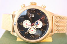 "PortaS Vogtland ""Gold Black"" -- Men's wristwatch"